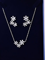 cheap -Women's Cubic Zirconia Jewelry Set - Flower Sweet, Fashion Include Drop Earrings / Pendant Necklace White For Wedding / Birthday