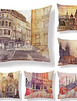 cheap -6 pcs Textile / Cotton / Linen Pillow case, Art Deco / Architecture / Printing Square Shaped / European Style