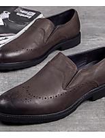 Недорогие -Муж. обувь Кожа Осень Удобная обувь Мокасины и Свитер Черный / Темно-русый