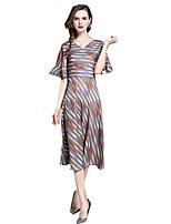 cheap -SHE IN SUN Women's Chinoiserie Flare Sleeve A Line Dress - Geometric Ruffle / Print