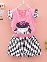 cheap -Toddler Girls' Print Check Short Sleeve Clothing Set