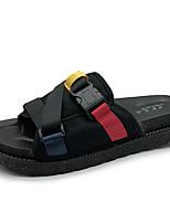 cheap -Women's Shoes PU Summer Comfort Slippers & Flip-Flops Flat Heel Round Toe for Black Red Blue