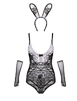 cheap -Women's Suits Teddy Nightwear - Lace Cut Out Bow Mesh, Jacquard Embroidered