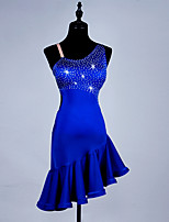 cheap -Latin Dance Dresses Women's Performance Spandex / Organza Crystals / Rhinestones / Ruching Sleeveless Dress