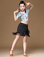 abordables -Danse latine Tenue Fille Utilisation Spandex Elastique Gland Manches Courtes Taille basse Jupes Haut