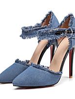 abordables -Femme Chaussures Toile de jean Printemps été Confort / Nouveauté Chaussures à Talons Talon Aiguille Bout pointu Boucle Noir / Bleu / Bleu