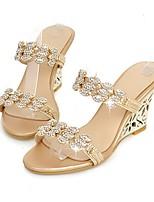 cheap -Women's Shoes Customized Materials Summer Slingback Slippers & Flip-Flops Wedge Heel Open Toe Rhinestone Gold / Silver