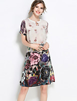 cheap -SHIHUATANG Women's Chinoiserie Shift Dress - Floral Print