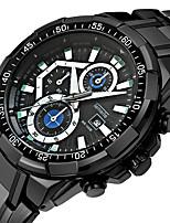 Недорогие -Муж. Кварцевый Спортивные часы Календарь Повседневные часы Нержавеющая сталь Группа Роскошь Cool Черный Серебристый металл