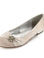 abordables -Femme Chaussures Dentelle Eté Confort / Ballerine Chaussures de mariage Talon Plat Bout rond Strass / Noeud / Paillette Brillante Argent