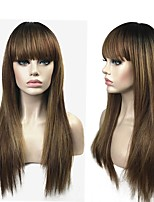 cheap -Synthetic Wig Straight Layered Haircut Synthetic Hair 100% kanekalon hair Ombre Wig Women's Long Capless