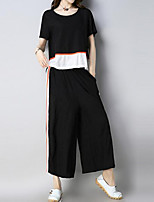 cheap -Women's Chinoiserie / Boho Set - Color Block Pant