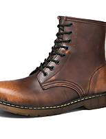 Недорогие -Универсальные Обувь Кожа Наступила зима Ботильоны / Армейские ботинки Ботинки На плоской подошве Ботинки Черный / Коричневый / Винный