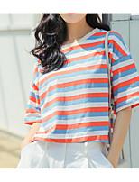 cheap -Women's Basic T-shirt - Striped / Color Block Print