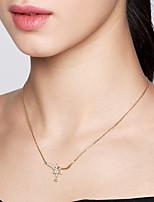 abordables -Femme S925 argent sterling / Dorage 18K Pendentif de collier / Colliers chaînes - Métallique / simple / Décontracté Irrégulier Or 40cm