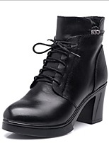 cheap -Women's Shoes Cowhide Leather Spring Winter Comfort Boots Chunky Heel for Black