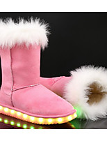 preiswerte -Mädchen Schuhe Nubukleder Winter Leuchtende LED-Schuhe Schneestiefel Stiefel für Draussen Schwarz Braun Rosa