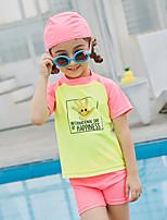 cheap -SABOLAY Girls' Rash Guard Dive Skin Suit Detachable Cap, Comfortable Polyester / Spandex / Chinlon Short Sleeve Swimwear Beach Wear Swimwear Swimming / Outdoor Exercise / Watersports