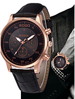 cheap -Men's Quartz Dress Watch Chinese Chronograph / Large Dial Leather Band Luxury / Vintage Black / Brown