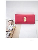 cheap -Women's Bags Genuine Leather Wallet Buttons for Event / Party Black / Red / Blushing Pink