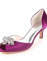 preiswerte -Damen Schuhe Satin Frühling Sommer Pumps Hochzeit Schuhe Kitten Heel-Absatz Peep Toe Strass Rot / Champagner / Elfenbein