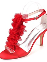 cheap -Women's Shoes Satin Spring & Summer Basic Pump Wedding Shoes Stiletto Heel Open Toe Satin Flower Red / Champagne / Ivory