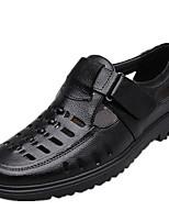 Недорогие -Муж. обувь Кожа Лето Удобная обувь Мокасины и Свитер Черный / Коричневый