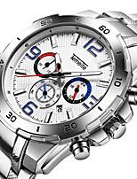 abordables -Homme Quartz Montre de Sport Calendrier Chronomètre Acier Inoxydable Bande Luxe Cool Argent