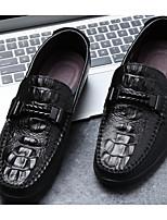 Недорогие -Муж. обувь Кожа Осень Удобная обувь Мокасины и Свитер Черный / Темно-русый / Вино