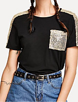 cheap -Women's Basic T-shirt - Solid Colored Sequins
