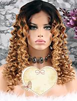 Недорогие -Remy Парик Бразильские волосы Кудрявый Стрижка каскад 130% плотность С детскими волосами Блондинка Короткие / Длинные / Средняя длина Жен.
