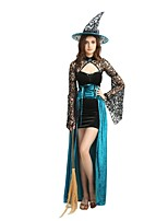 cheap -Witch Outfits Unisex Halloween / Carnival / Day of the Dead Festival / Holiday Halloween Costumes Blue Solid Colored / Halloween Halloween
