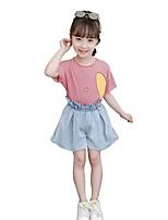 preiswerte -Kinder Mädchen Gestreift Druck Kurzarm Kleidungs Set