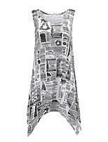 abordables -Tee-shirt Femme, Couleur Pleine / Lettre Glands / Imprimé Basique / Chic de Rue