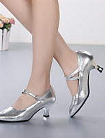 cheap -Women's Modern Shoes Cowhide Heel Performance / Outdoor Customized Heel Customizable Dance Shoes Gold / Silver