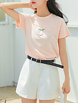 economico -T-shirt Per donna Quotidiano / Per uscire Frutta Cotone / Cotone / Per uscire