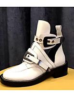 Недорогие -Жен. Обувь Кожа Весна лето Армейские ботинки Ботинки На плоской подошве Круглый носок Ботинки Пряжки Белый / Черный