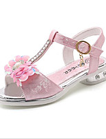 Недорогие -Девочки Обувь Лакированная кожа Лето Детская праздничная обувь Сандалии Цветы для Серебряный / Розовый / Светло-Розовый