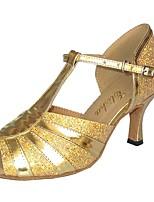 baratos -Mulheres Sapatos de Dança Latina Couro Envernizado Salto Salto Carretel Sapatos de Dança Preto / Prateado / Azul marinho