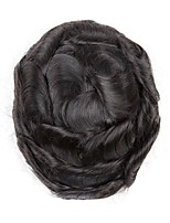 cheap -Men's Human Hair Toupees Wavy Comfy / 100% Hand Tied / Hot Sale