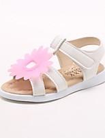 Недорогие -Девочки Обувь Полиуретан Лето Удобная обувь Сандалии На липучках Цветы для на открытом воздухе Белый Желтый Розовый