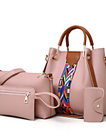 cheap -Women's Bags PU Leather Bag Set 4 Pieces Purse Set Pattern / Print for Shopping Blushing Pink / Gray / Brown