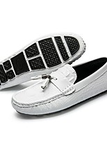 cheap -Men's Shoes Leather Summer Moccasin Comfort Loafers & Slip-Ons White Black Blue