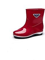 abordables -Femme Chaussures Cuir PVC Printemps été Bottes de pluie Bottes Talon Plat Vert / Bleu / Rose
