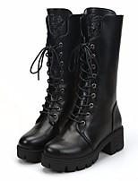 Недорогие -Жен. Обувь Полиуретан Зима Армейские ботинки Ботинки На толстом каблуке Сапоги до середины икры Черный