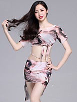 abordables -Danza del Vientre Accesorios Mujer Rendimiento Lino / Tul Diseño / Estampado / Fruncido Manga Corta Cintura Baja Faldas / Top