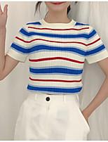 abordables -Tee-shirt Femme, Rayé / Couleur Pleine Imprimé
