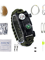 cheap -Survival Bracelet Camping / Hiking / Caving Trekking Traveling Waterproof LED SOS Multifunction Emergency Nylon fiber Metalic 14pcs