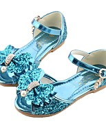 cheap -Girls' Shoes Leatherette Summer Flower Girl Shoes Sandals Sequin Buckle for Teenager Outdoor Gold Blue Pink