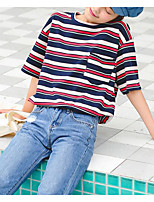 cheap -Women's Vintage T-shirt - Solid Colored / Striped Black & Red, Tassel